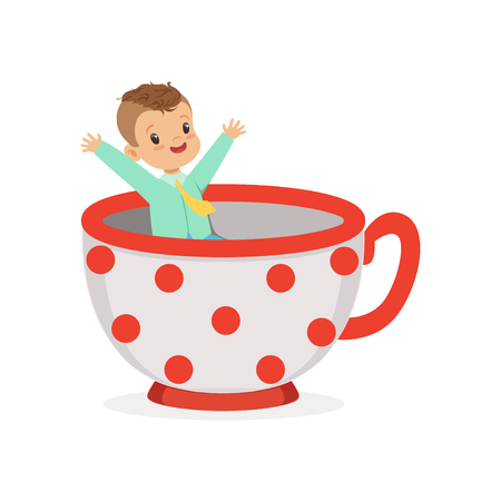 Cute little boy sitting in a cup, kid have a fun in amusement park cartoon vector Illustration