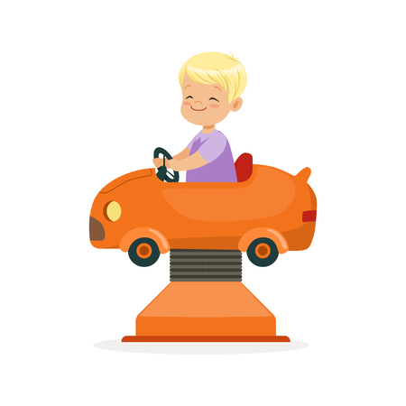Cute blonde little boy riding on an orange car, kid have a fun in amusement park cartoon vector Illustration Çizim