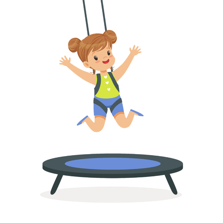 Cute little girl jumping on trampoline, kid have a fun in a park cartoon vector Illustration