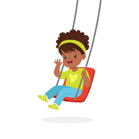 Cute little girl playing swing, kid have a fun on a playground cartoon vector Illustration