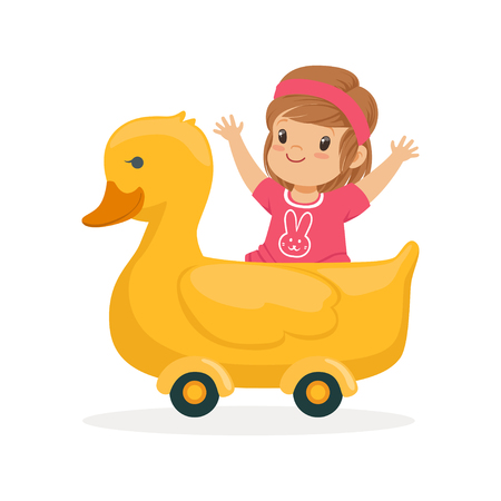 Cute little girl riding on yellow duck, kid have a fun in amusement park cartoon vector Illustration
