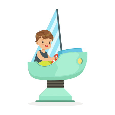Cute little boy playing on a toy ship, kid have a fun in amusement park cartoon vector Illustration