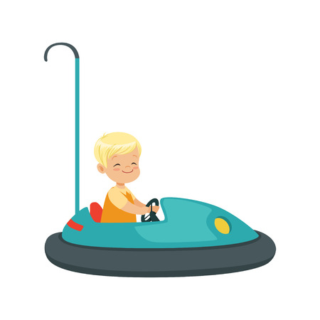 Cute little boy riding bumper car, kid have a fun in amusement park cartoon vector Illustration Ilustração
