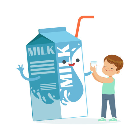 Cute little boy and funny milk carton box with smiling human face playing and having fun, healthy childrens food cartoon characters vector Illustration