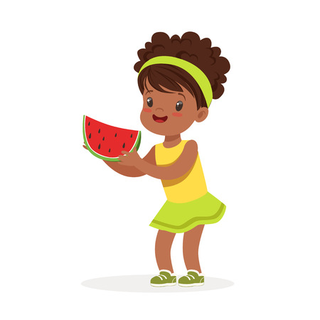 Sweet little african girl enjoying eating watermelon cartoon vector Illustration