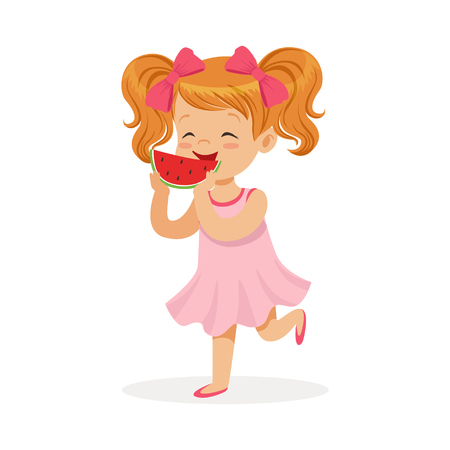 Sweet little redhead girl enjoying eating watermelon cartoon vector Illustration Ilustrace