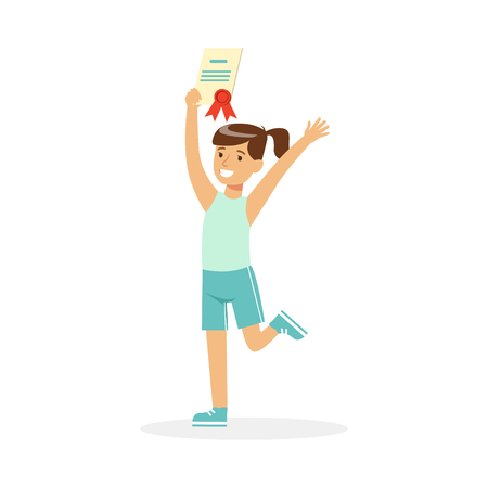 Happy girl in blue sports uniform holding her excellent report card cartoon vector Illustration Imagens - 84900176