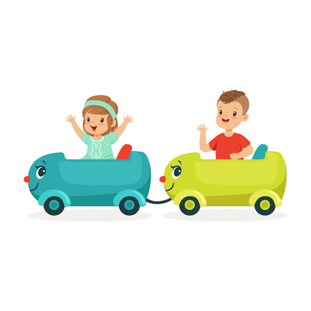 Cute happy little boy and girl riding a train, kid have a fun in amusement park cartoon vector Illustration