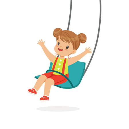 Cute little girl swinging on a swing, kid have a fun on a playground cartoon vector Illustration  イラスト・ベクター素材