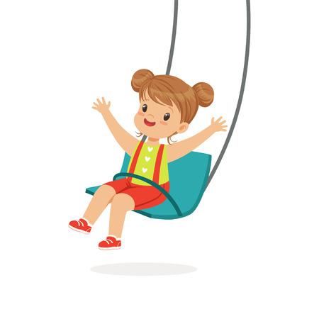 스윙에서 스윙 귀여운 소녀, 아이 놀이터에서 재미 만화 벡터 일러스트