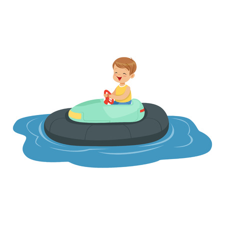 Cute little boy riding boat, kid have a fun in amusement park cartoon vector Illustration Illustration