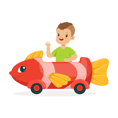 Cute little boy riding on toy fish car, kid have a fun in amusement park cartoon vector Illustration 向量圖像