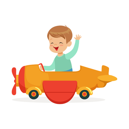 Cute little boy riding on toy airplane, kid have a fun in amusement park cartoon vector Illustration Çizim