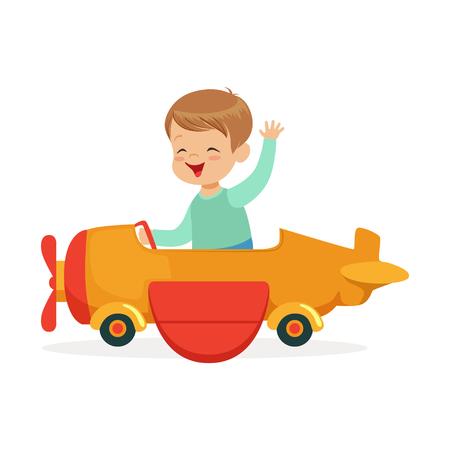 De leuke kleine jongen die op stuk speelgoed vliegtuig berijden, het jonge geitje heeft een pret in de vectorillustratie van het pretparkbeeldverhaal