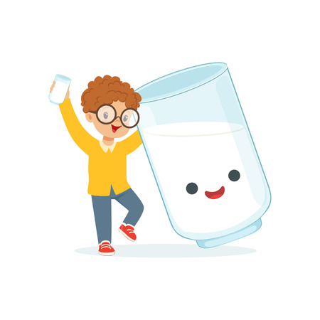 Cute redhead little boy and funny milk glass with smiling human face playing and having fun, healthy childrens food cartoon characters vector Illustration Illustration