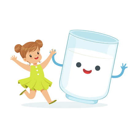 Cute little girl and funny milk glass with smiling human face playing and having fun, healthy childrens food cartoon characters vector Illustration Illustration