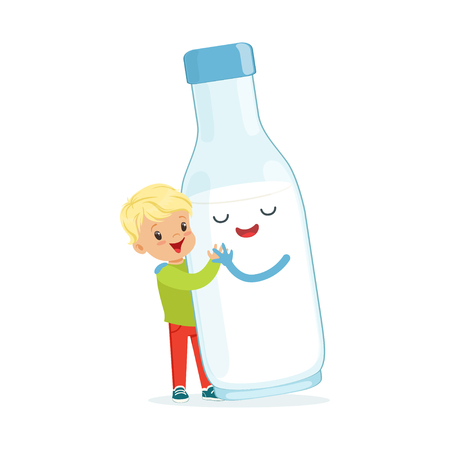 Cute blonde little boy and funny milk bottle with smiling human face playing and having fun, healthy childrens food cartoon characters vector Illustration