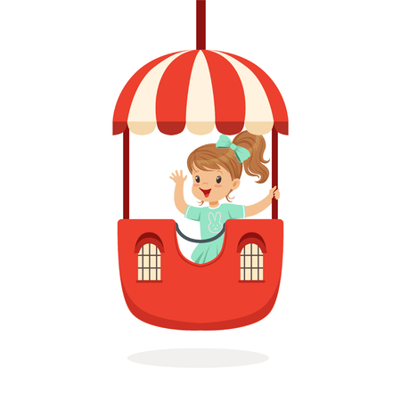 Cute little girl riding a colorful carousel, kid have a fun in amusement park cartoon vector Illustration