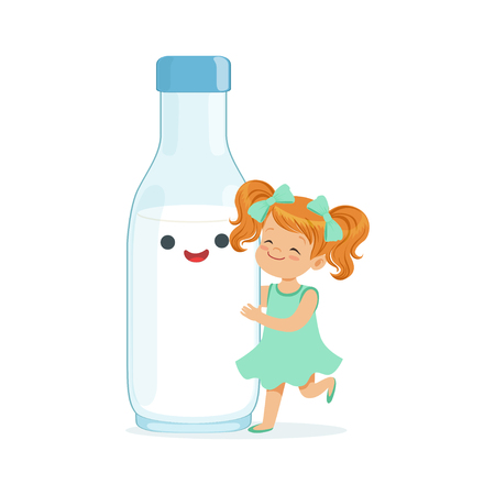Cute redhead little girl and funny milk bottle with smiling human face playing and having fun, healthy childrens food cartoon characters vector Illustration Illustration
