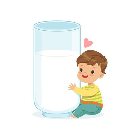 Cute little boy hugging giant milk glass, healthy childrens food cartoon character vector Illustration Illustration