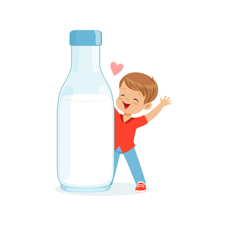 Cute happy little boy standing next to a giant milk bottle, healthy childrens food cartoon character vector Illustration Illustration