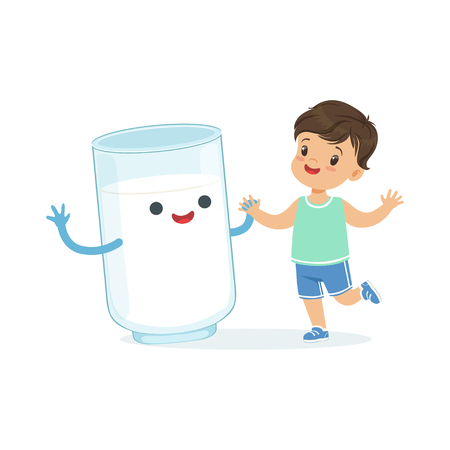 Cute little boy and funny milk glass with smiling human face playing and having fun, healthy childrens food cartoon characters vector Illustration Illustration