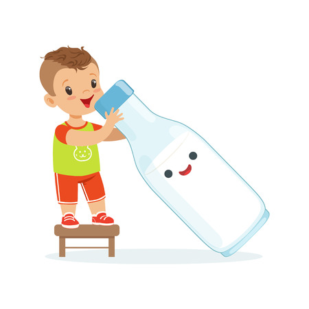 Cute little boy and funny milk bottle with smiling human face playing and having fun, healthy childrens food cartoon characters vector Illustration Illustration