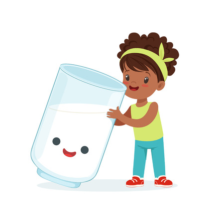 Cute black little girl and funny milk glass with smiling human face playing and having fun, healthy childrens food cartoon characters vector Illustration Illustration