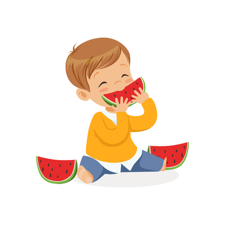 Cute little boy character enjoying eating watermelon cartoon vector Illustration