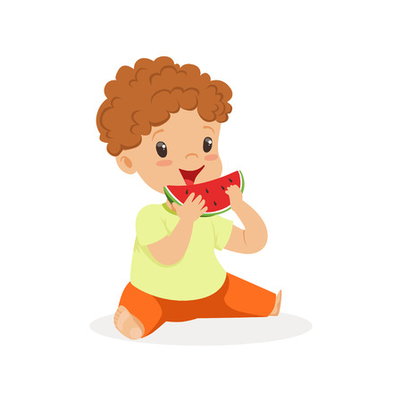Cute little redhead boy character enjoying eating watermelon cartoon vector Illustration