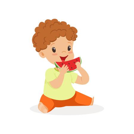 Cute little redhead boy character enjoying eating watermelon cartoon vector Illustration