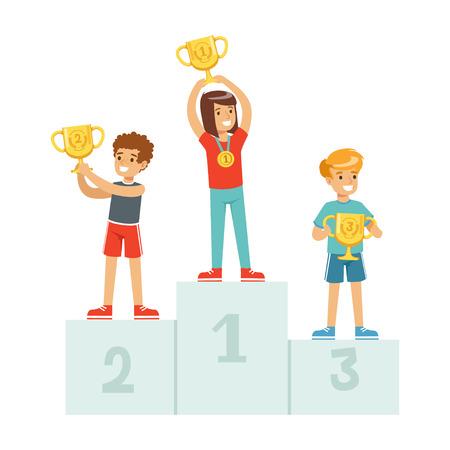 賞金カップとメダルで優勝表彰台に立って幸せな子供たちは、台座の漫画ベクトルイラストでスポーツ選手の子供たち