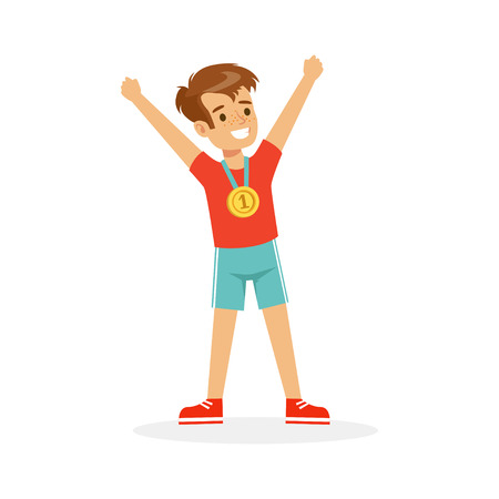 Young happy boy with a first place medal, athletes kid celebrating his golden medal cartoon vector Illustration