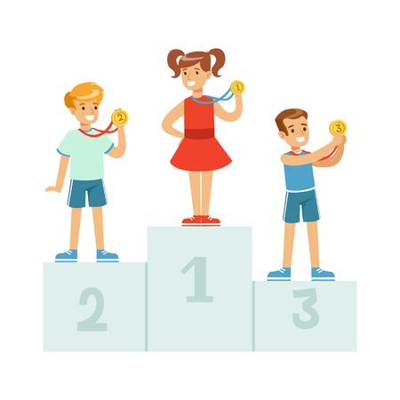 Children standing on the winner podium with medals,happy athletes kids on pedestal cartoon vector Illustration Vector Illustration