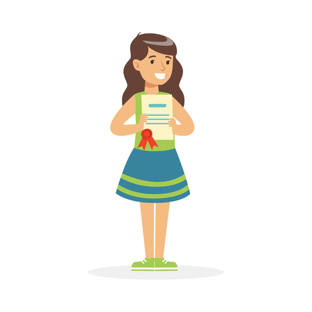 Happy girl holding her excellent report card cartoon vector Illustration