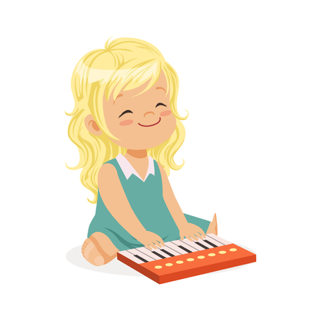 Sweet blonde little girl playing piano, young musician with toy musical instrument, musical education for kids cartoon vector Illustration
