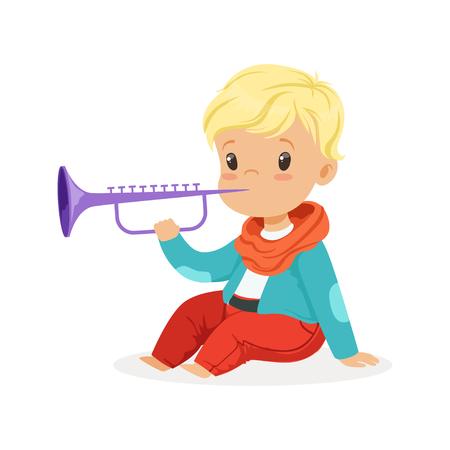 Netter kleiner blonder Junge, der Clarinet, junger Musiker mit Musikinstrument des Spielzeugs, musikalische Bildung für Kinderkarikatur vector Illustration spielt Vektorgrafik