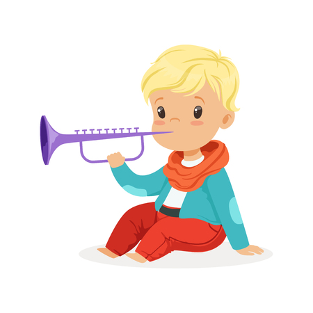 Cute little blonde boy playing clarinet, young musician with toy musical instrument, musical education for kids cartoon vector Illustration Vettoriali