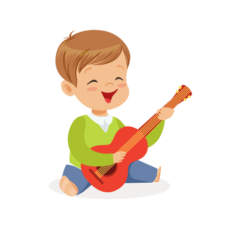 Cute little boy sitting on the floor playing guitar, young musician with toy musical instrument, musical education for kids cartoon vector Illustration