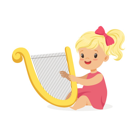 Sweet little blonde girl playing harp, young musician with toy musical instrument, musical education for kids cartoon vector Illustration