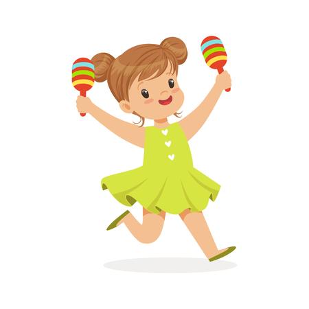 Lief klein meisje spelen maracas, jonge muzikant met speelgoed muziekinstrument, muzikale educatie voor kinderen cartoon vector illustratie Stock Illustratie