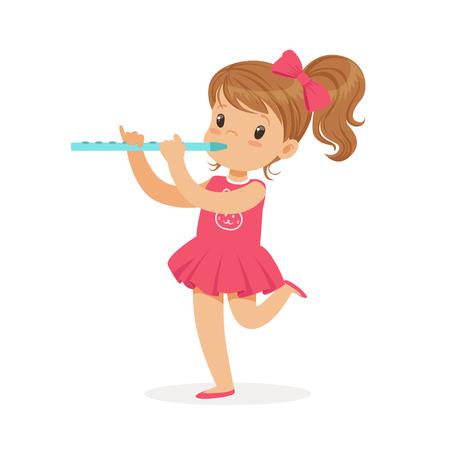Lief klein meisje spelen fluit, jonge muzikant met speelgoed muziekinstrument, muzikale educatie voor kinderen cartoon vector illustratie