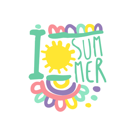 I love Summer logo template original design, colorful hand drawn vector Illustration