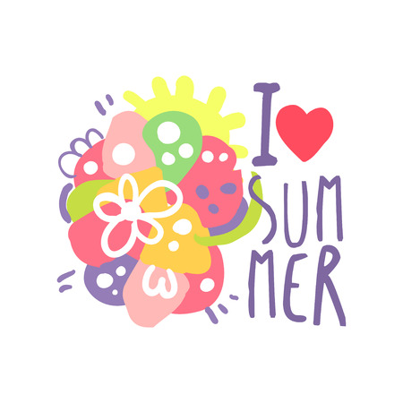 I love Summer logo template original design, colorful hand drawn vector Illustration with floral elements