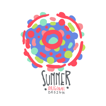 Summer logo template original design, colorful hand drawn vector Illustration