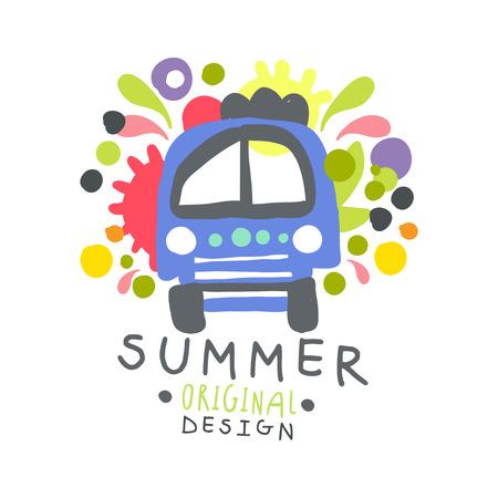 여름 로고 템플릿 원래 디자인, 다채로운 손으로 그린 벡터 일러스트 레이 션