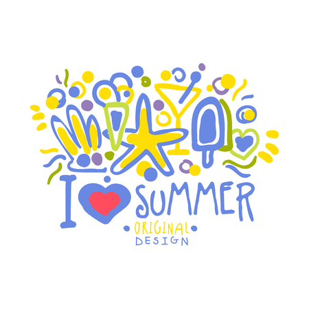 I love Summer colorful logo template original design, hand drawn vector Illustration Ilustração