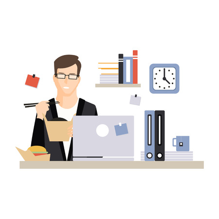Young businessman character eating fast food at his office workplace, daily life of office employee, working moment at office vector Illustration Illustration