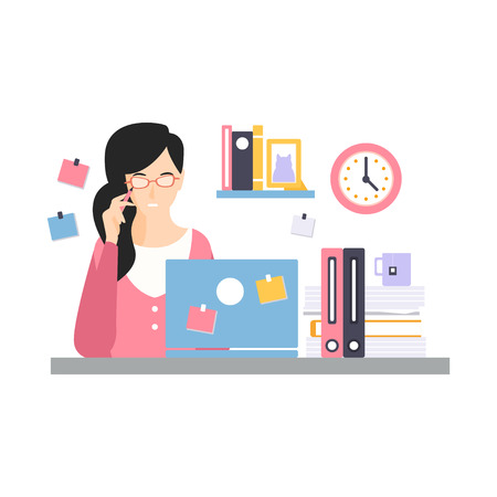 ノートパソコンと仕事、オフィスの従業員ベクトルイラストの日常生活とデスクに座っているエレガントなビジネスウーマンのキャラクター