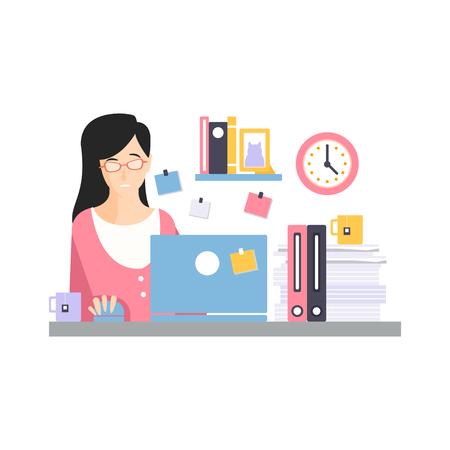 ブルネットの実業家キャラクターは、ラップトップの仕事やお茶、オフィスの従業員ベクトルイラストの日常生活とコンピュータの机の上に座って